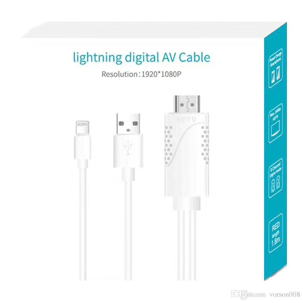 Câble adaptateur Lightning 8pin vers HDMI, 6ft 8Pin Lightning vers HDMI Adaptateur AV numérique pour projecteur TV