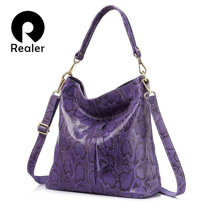 20096beec0b5 Realer Brand Woman Handbag Large Shoulder Bag Female Serpentine Pattern  Genuine Leather Handbag Designer Women Casual Tote BagsX82301 Cheap Designer  ...