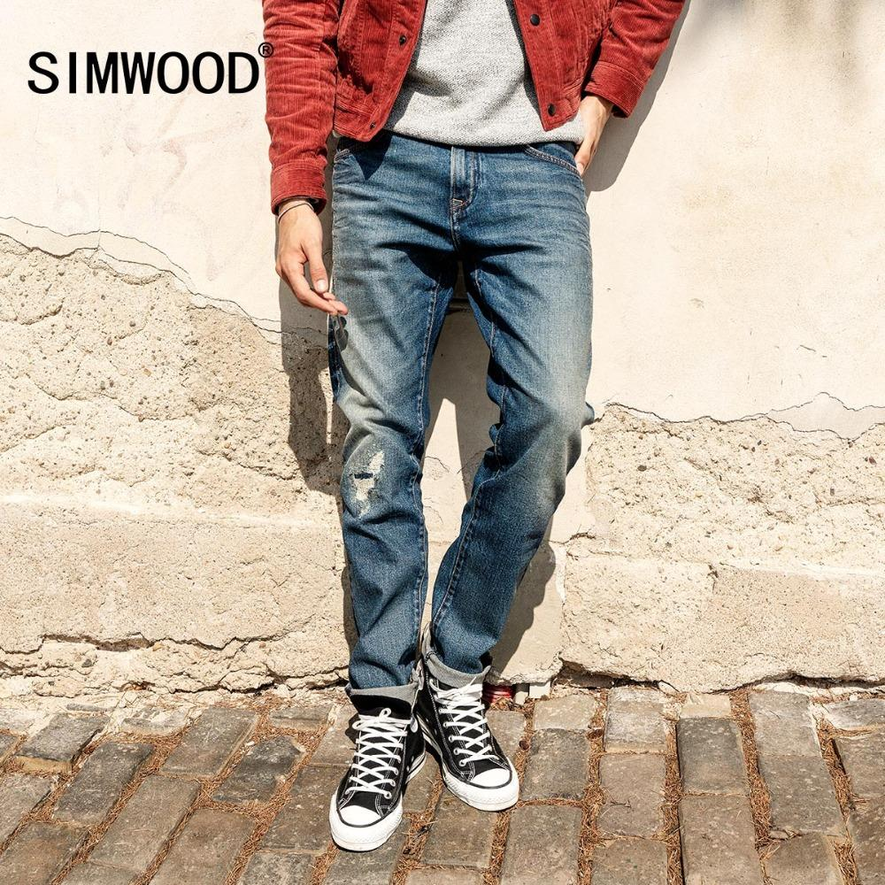 52438846453ec 2019 SIMWOOD 2018 Brand Jeans Men Fashion Ripped Dark Wash Slim Fit Denim  Trousers Plus Size Skinny Jeans Men High Quality 180338 From Cravat