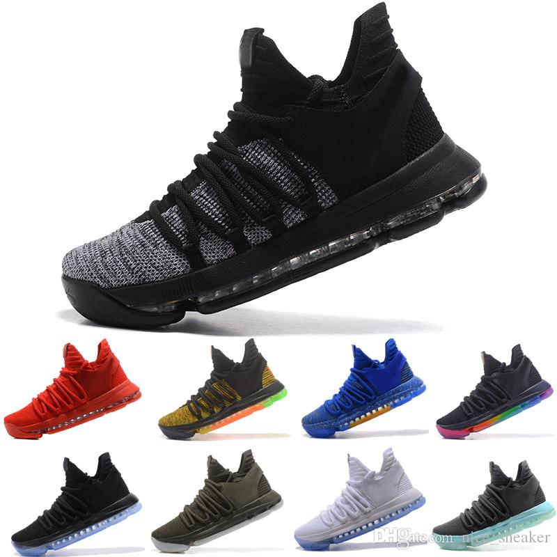 51dc11483263 2018 New ZOOM KD BHM Kevin Durant 10 X Triple Black Elite For Mens  Basketball Shoes Low Cut Athletic Sport Sneakers Mens Basketball Shoes Men  Sneakers From ...