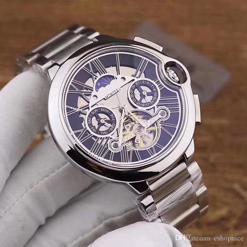 Top montres pour hommes tous les cadrans travail 43mm volant cadran mécanique automatique pleine inoxydable montre-bracelet de mode de bande en acier pour l'homme dropshipping