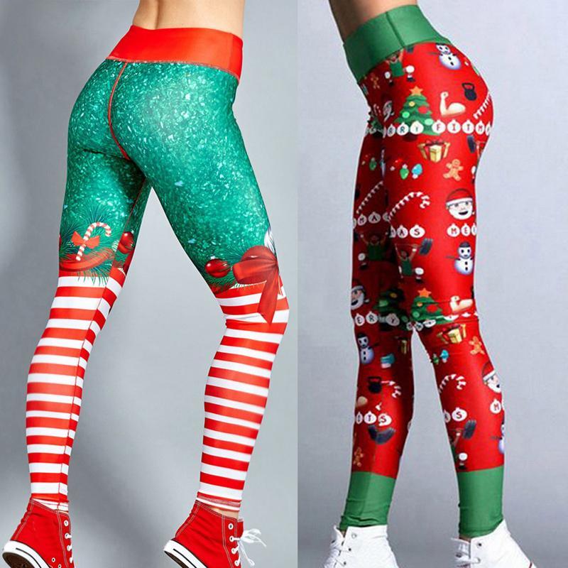 a36cc5fe8ceea8 2019 Vertvie 2018 Christmas Printing Leggings Put Hip Elastic High Waist  Legging Breathable Merry Christmas Pants Fitness Yoga Pants From Jinzoug
