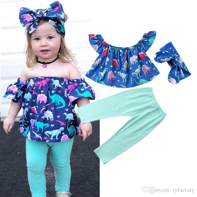 44554b962 2019 Fashion Kids Baby Girl Dinosaur Off Shoulder Tops Pants Headband Set  Outfits Blue Kids Clothes Baby Clothing 6M 5Y From Tyfactory, $6.51 |  DHgate.Com