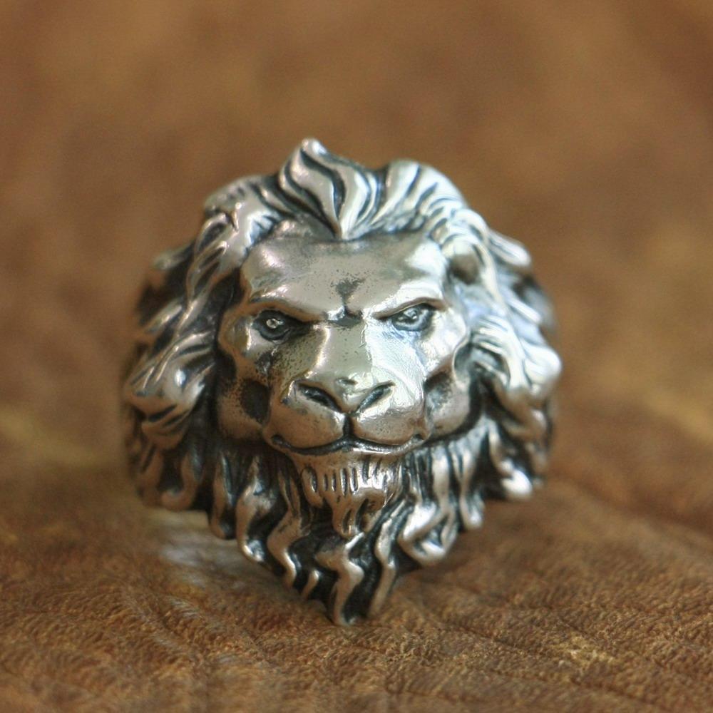 LINSION 925 Lion Ring의 스털링 실버 킹 High Details Mens Biker Punk Ring TA109 미국 사이즈 7-15