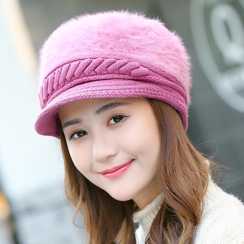 Compre Coreano Nova Chegada Elegante Mulheres Malha Chapéus De Pele De Coelho  Cap Outono Inverno Boinas Ladies Female Moda Skullies Chapéu Beret De ... 0ee41cc6f67