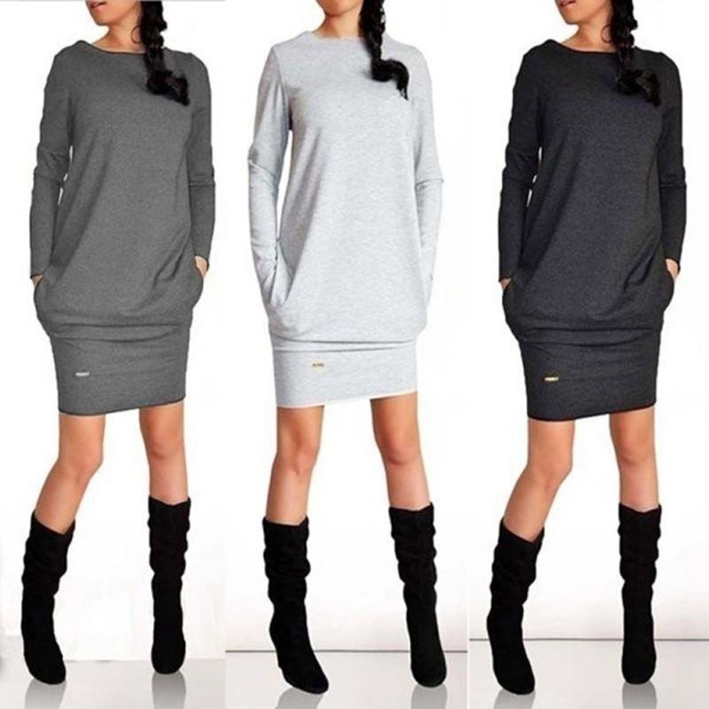 best sneakers 804c2 bc1e6 Womens Spring Sweatshirt Kleid Damen Hoodie Pullover Jumper Top Paket Hüfte  Rock Pockets Pullover langärmeliges Kleid