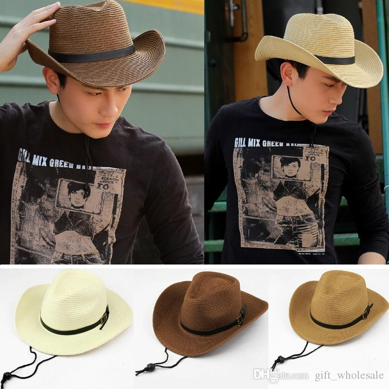 002396fe641 Straw Braid Men Cowboy Hats With Buckle Western American Mens Hat Lady  Beach Hats Solid Khaki Hat Store Fedora Hats For Men From Gift wholesale