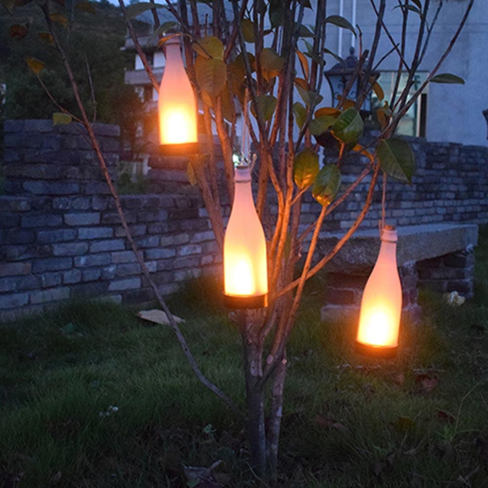 Grosshandel Solar Led Leuchten Weinflasche Flamme Lampe Terrasse