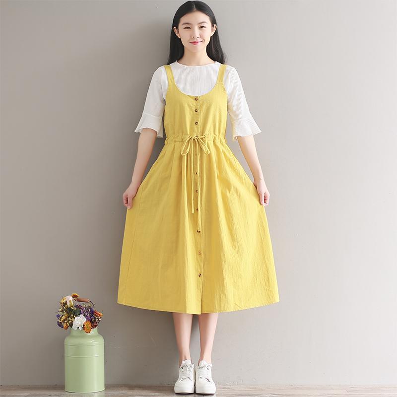 72c4b40b862 Summer Dress Women Spaghetti Strap Drawstring Long Cotton Dresses  Sleeveless Yellow Sundress Girls Dress Bridal Dress From Beautiful201314