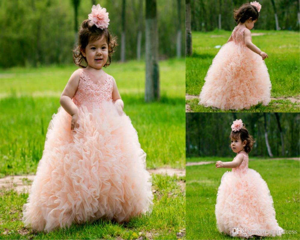 6c51a696b Peach Ball Gown Puffy Ruffle Girls Skirts Flower Girls Dresses 3d Floral  Appliques Girls Pageant Dress Holiday Garden Tassel Tulle Cupcake Photos Of  Dresses ...