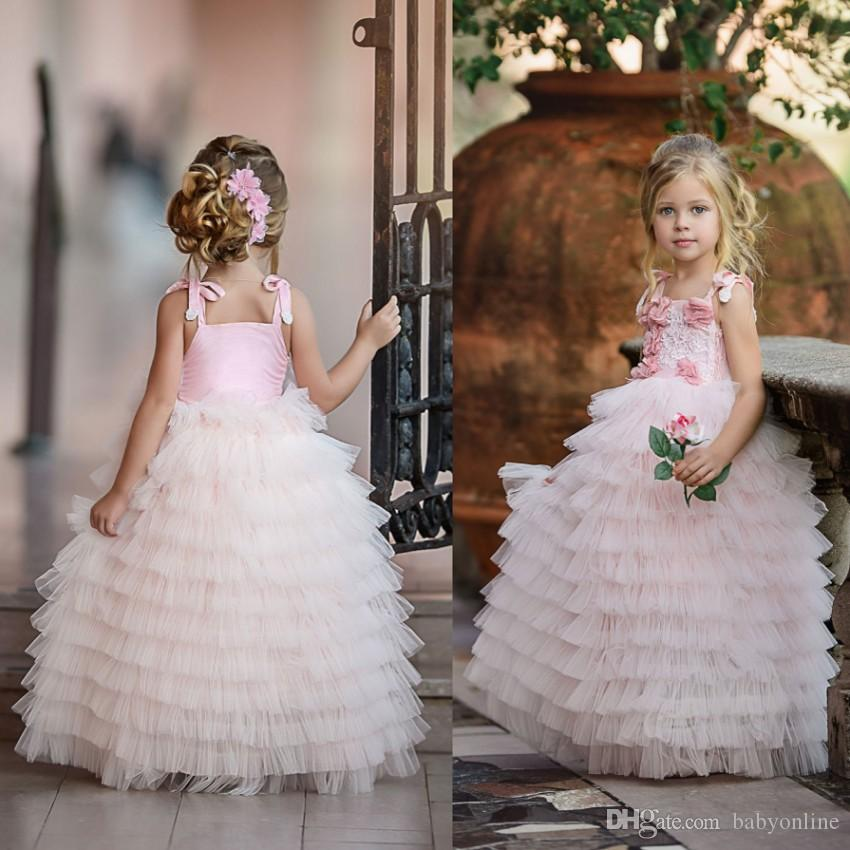 Pale pink puffy tutu flower girl dresses 2018 princess spaghetti pale pink puffy tutu flower girl dresses 2018 princess spaghetti straps with hand made flowers long kids formal gowns for weddings parties kids flower girl mightylinksfo