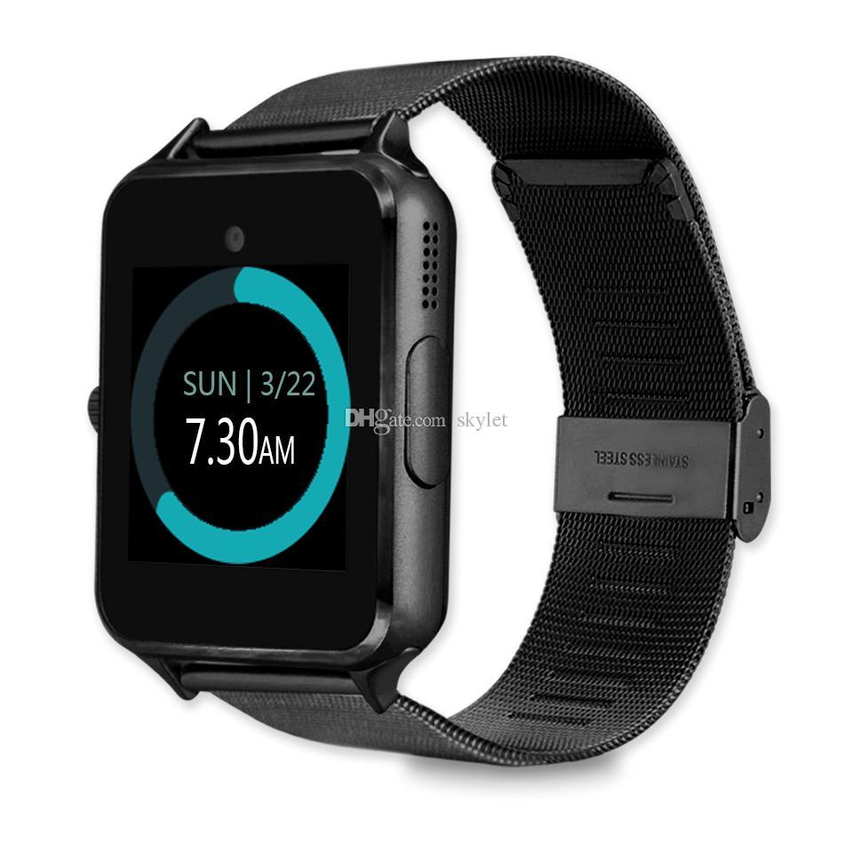 Bluetooth Smart Watch Z60 Smartwatches Edelstahl Smart Armband mit SIM-Karten-Kamera für Android IOS-Handys mit Kleinkasten