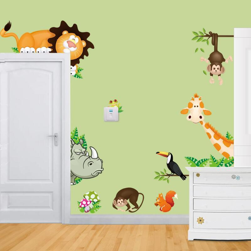 Cute Animal Live In Your Home Diy Wall Stickers Home Decor Jungle ...