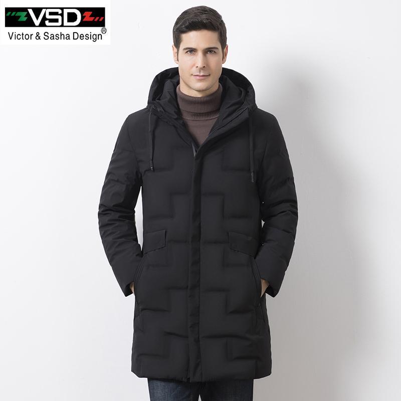 Winterjas Heren S.2019 Vsd New Warm Winter Duck Down Slim Jacket For Men Hooded Collar