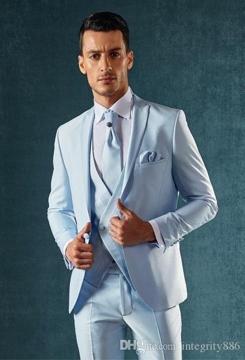 05bcaaf0a9b6 Brand New Light Blue Men 3 Piece Suit Wedding Tuxedos Groom Tuxedos Peak  Lapel One Button Men Business Prom Blazer(Jacket+Pants+Tie+Vest)628