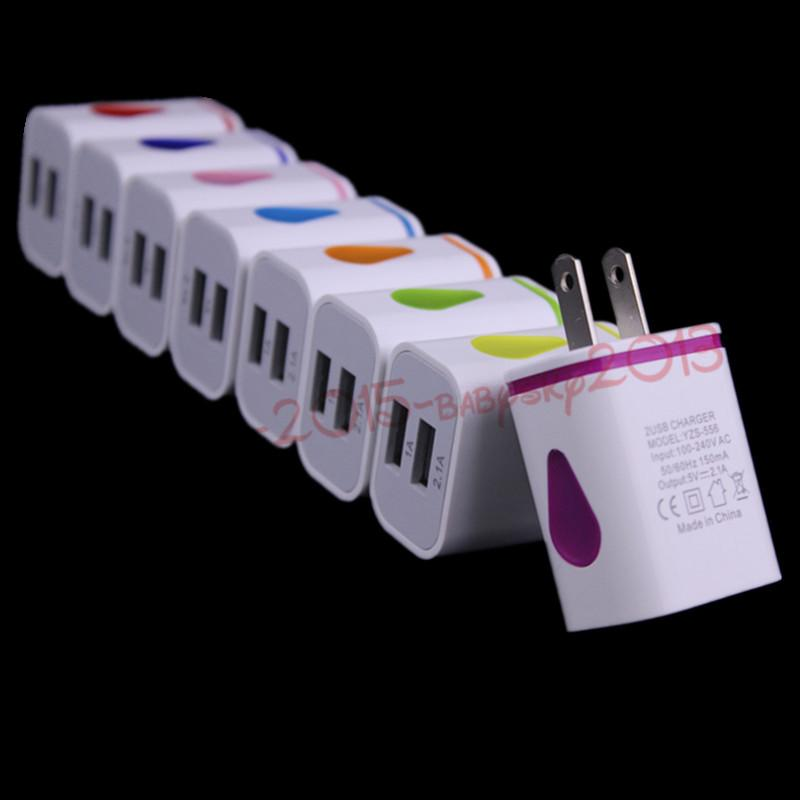 Conducido adaptador cargador de luz 2.1A UE de los EEUU del recorrido del hogar pared para el iPhone 7 8 x 11 HTC Samsung Galaxy S8 S9 teléfono androide s10