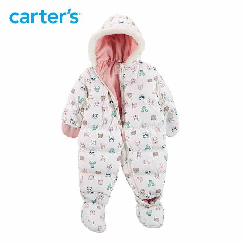 7a6afb778189 Winter Overalls Baby Girl Clothes Cute Long Hooded Footies White ...