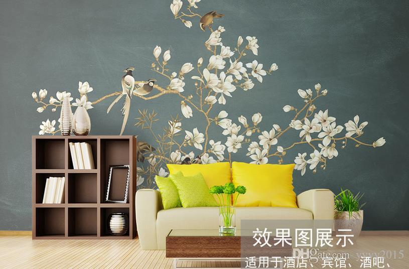 Duvar kağıdı siyah Çin el-boyalı desen çiçekler ve kuşlar duvar dekoratif paintingwallpaper tuğla duvar 3d