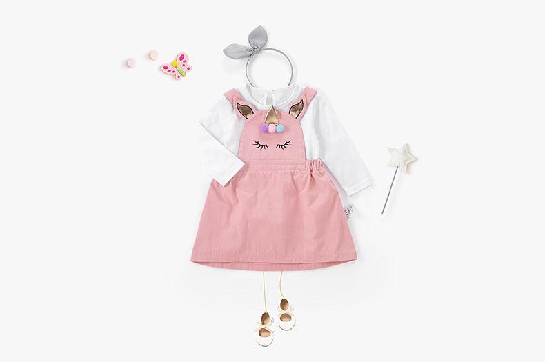 Korean Style Fashion Girls Spring Unicorn Children's Dresses Suit Long Sleeve White Shirt + Pink Jumper Dress Children Princess Dress Suit