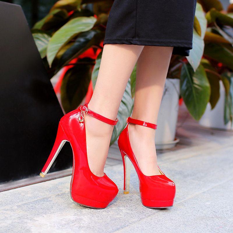 94f3f5fce214 High Heel Beautiful Sandals Belt Buckle 32 42 Code High With Waterproof  Platform Single Shoe Women Red Black Pink Beige Shoes 135mm Heel Hot  Espadrilles ...