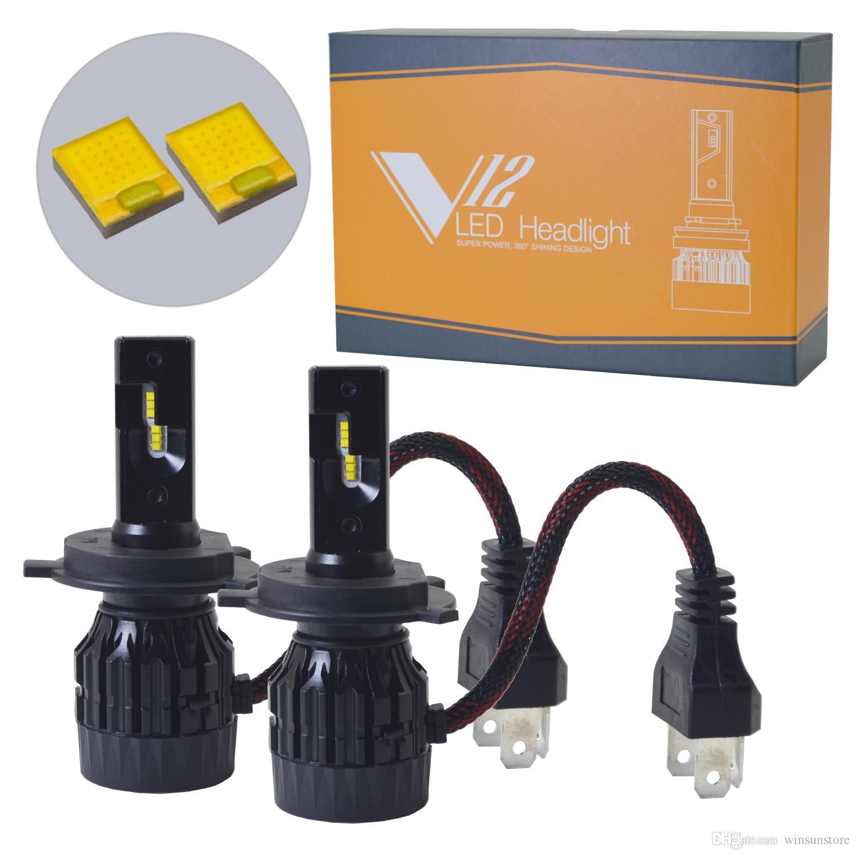 Winsun V12 Car LED Headlight Bulbs Conversion Kit - H4 H7 H11 9005 9006  6400lm 60W 6K Cool White Philips ZES chip 1 Yr Warrant