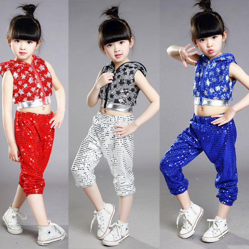 7f844c94ce49 2019 Grils Sequined Modern Jazz Hip Hop Dance Wear Hoodie Outfits ...