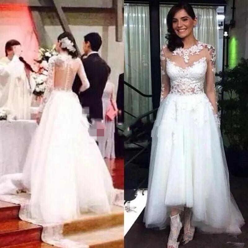 Land 2019 eine Linie Hochzeits-Kleid-Brautkleider Illusion Langarm-Juwel Applikationen Hallo niedrige Spitze Brautkleider Tulle Tiered Röcke