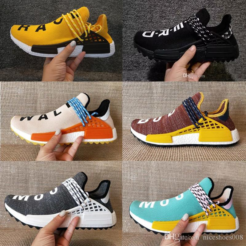 13d937bbf 2019 High Quality Human Race Pharrell Williams X Trail NERD Equality Orange  Holi CREAM Casual Running Shoes Men Women PW HU Sports Sneakers 36 47 From  ...