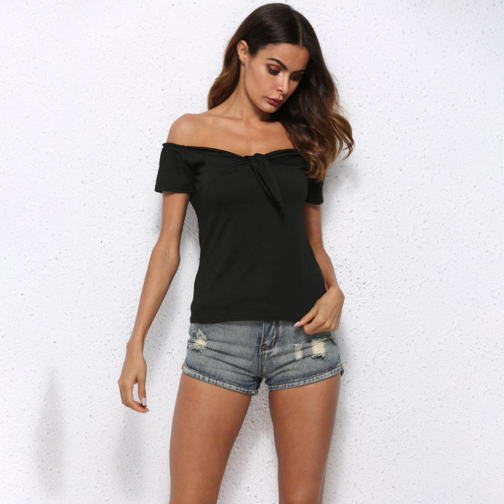 cc37fe8ceff Black Women T Shirt Solid Off Shoulder Hot Fashion Slim Summer Short Sleeve  Women Basic T Shirt Casual Lady Tops Tees Shirt T Sirts T Shirs From  Liasheng05