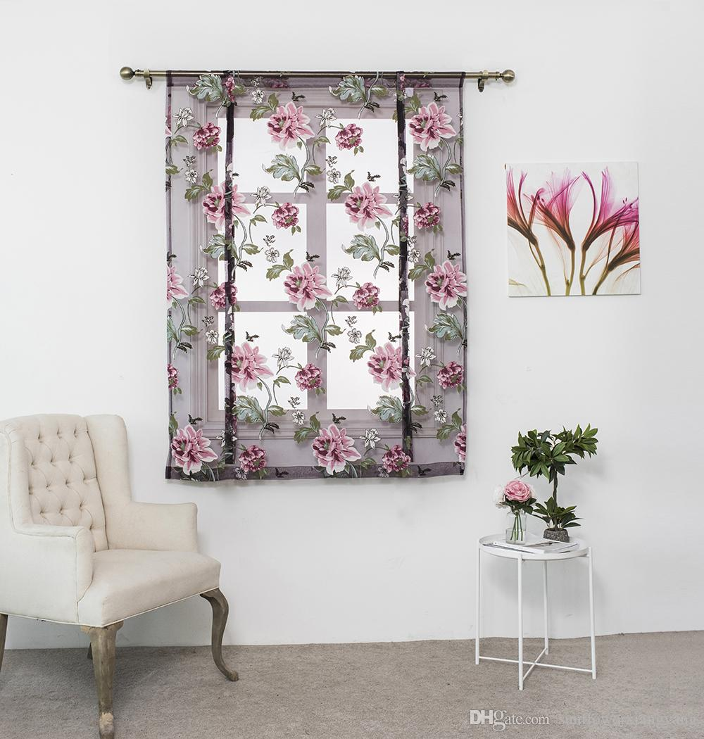 Kitchen short sheer burnout roman blinds curtains peony sheer panel tulle window treatment door curtain home decor rideaux online with 15 23 piece on