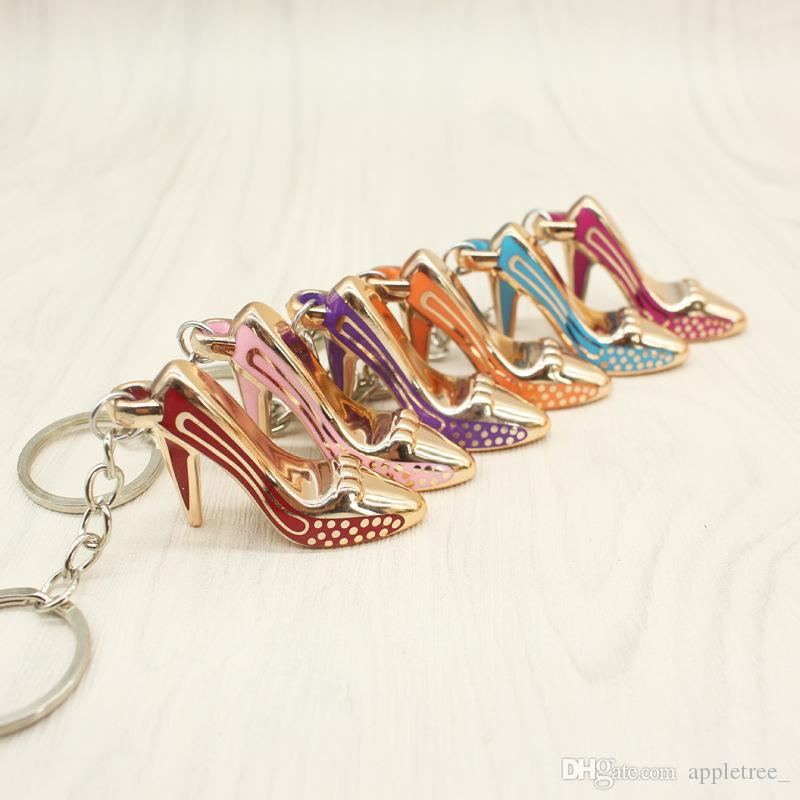 High Heeled Shoes Keychain Shoe Pendant key chain Purse Bag keychains Car keyrings keyring Key Rings For Women girl Gift
