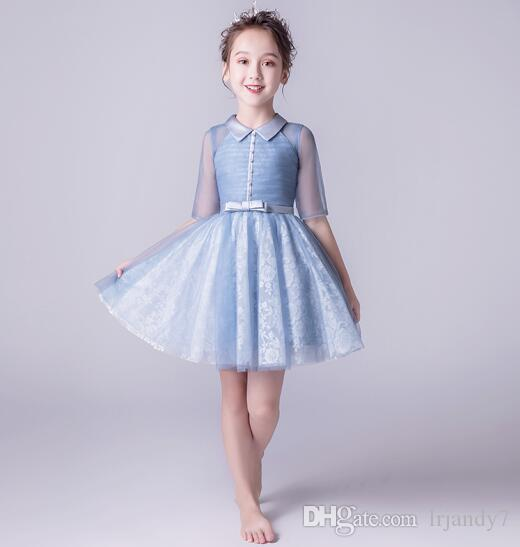2021859ef1 Fashion Girl S Pageant Dresses Beaded Tiered Lace Light Blue Lace Tulle  Wedding Summer Princess Party Dresses Flower Girl Prom Dress Discount Girls  Dresses ...