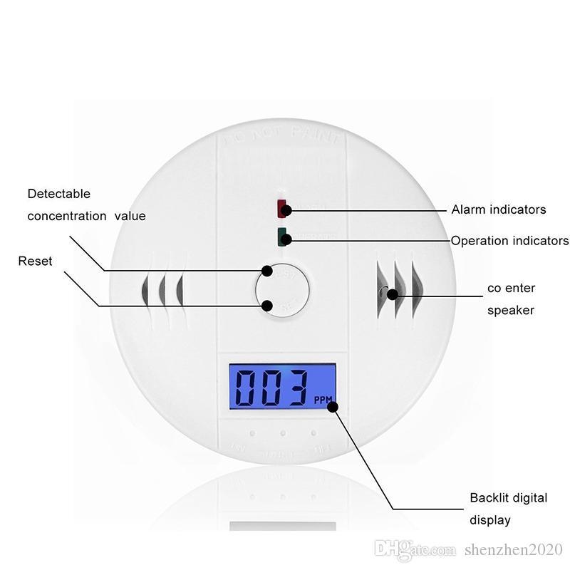 CO Углеродистый монооксидный датчик газа Датчик монитор сигнализации Половительный детектор тестер для домашнего видеонаблюдения с высоким качеством