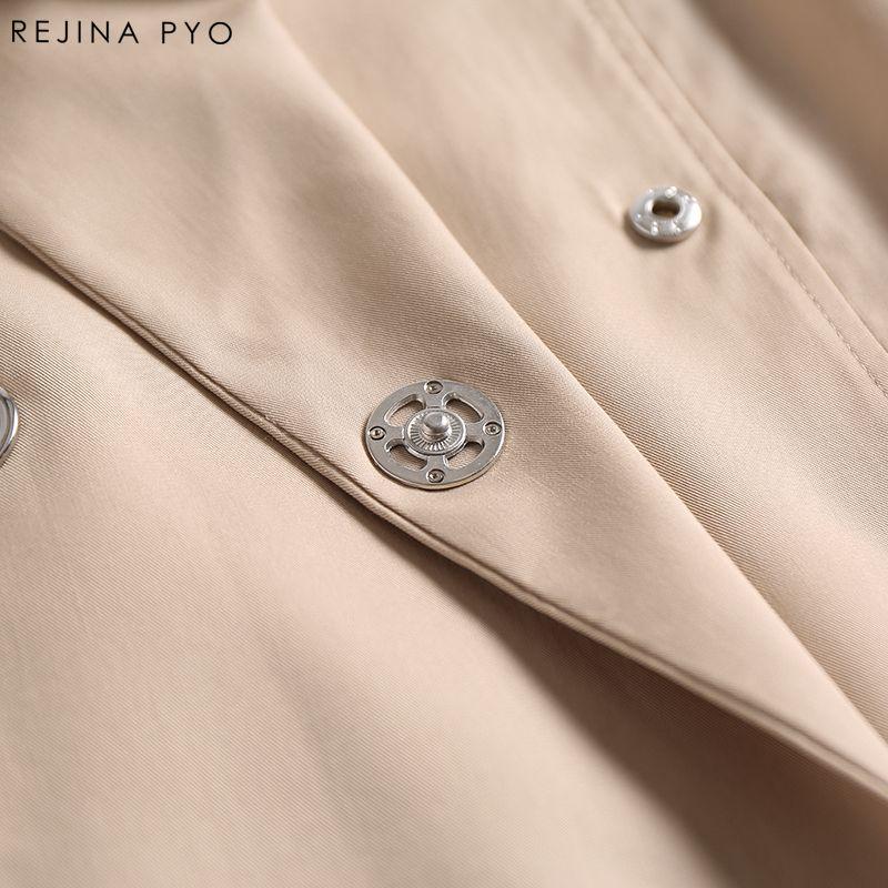 REJINAPYO Женщины Повседневная твердые свободные высокая улица крытая кнопка тренч длинное пальто отложным воротником металлические кольца карманы