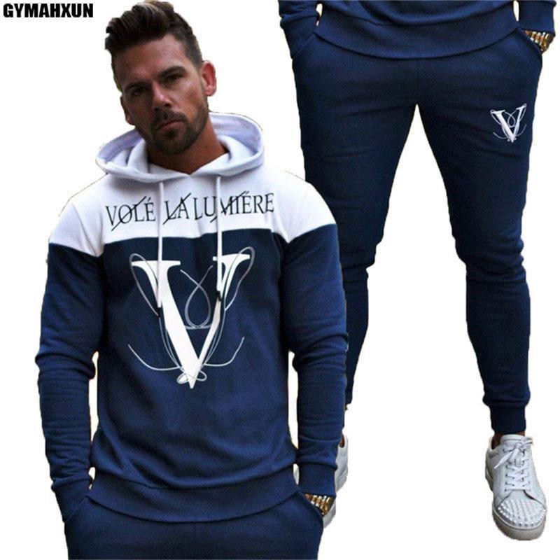 0ab022db4b6c1 Satın Al GYMAHXUN 2018 Sonbahar Kış Yeni Setleri Erkekler Moda Spor Eşofman  Setleri Erkek Vücut Hoodies + Pantolon Casual Dış Giyim Suits, $48.05 |  DHgate.