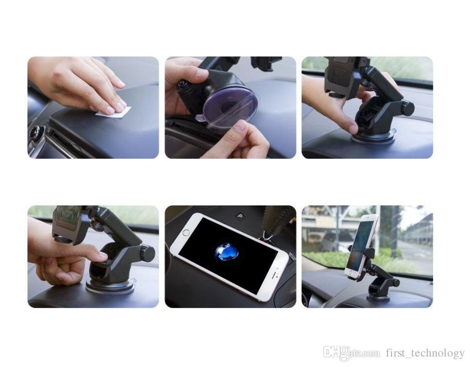 Universal Car Mobile Phone Holder Stand Dashboard Windshield Sticky Cell Phone Holder for iPhone Support Samsung GPS