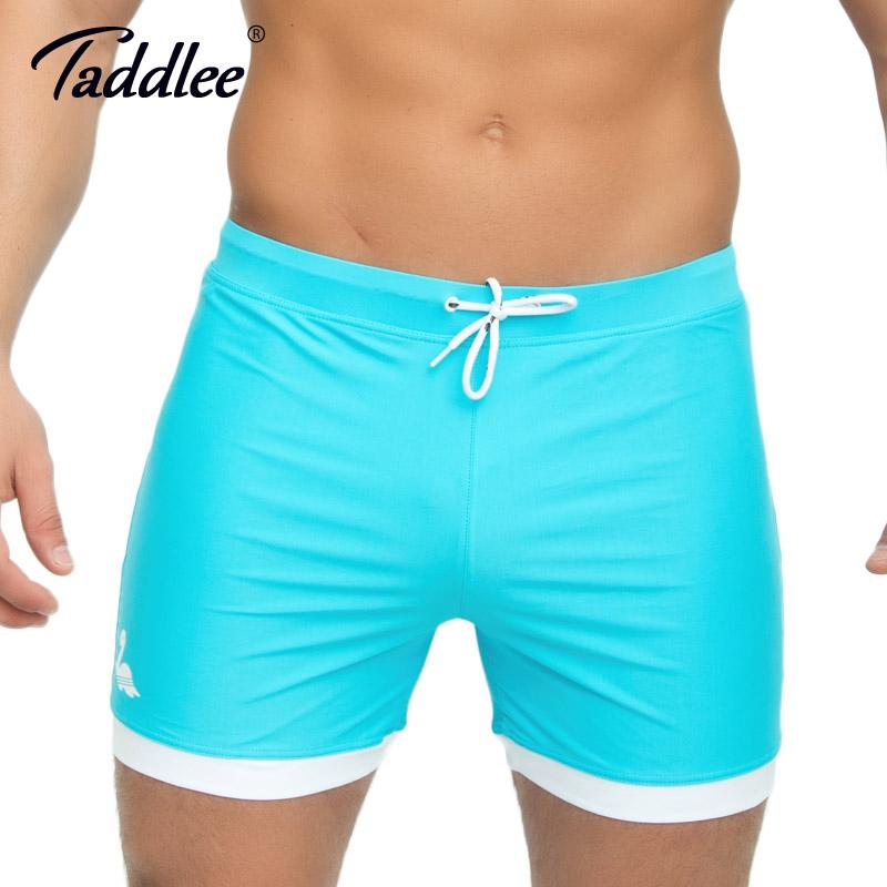 98ae9a93f7 Taddlee Brand Men's Swimming Boxer Trunks Solid Color Blue Swimwear  Swimsuits Plus Size XXL Bathing Suits Board Surf Shorts New