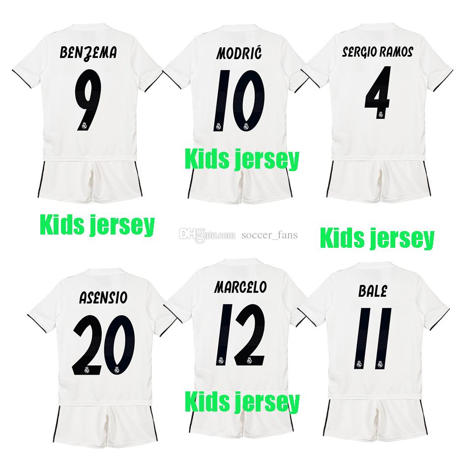 1819 Real Madrid Soccer Jersey Kids Kit 18 19 Real Madrid Home White ... 25ed4d9ae