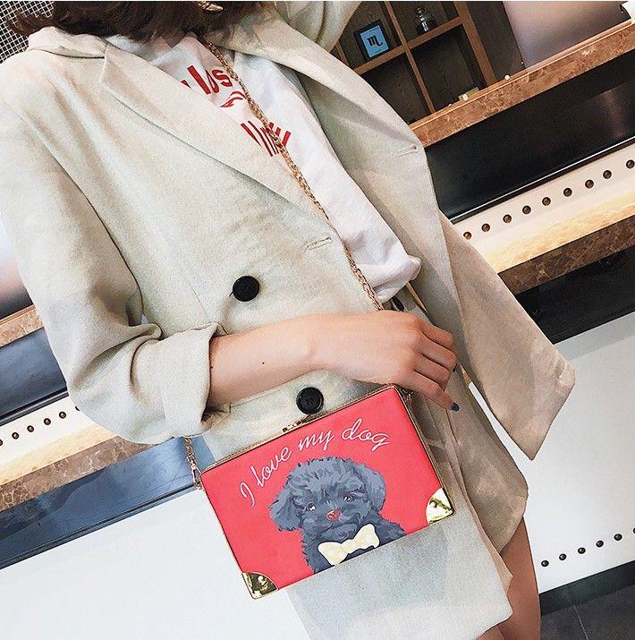2018. Metal chain. Small. Mini. Women's casual fashion bag. PU. Hard. Small box. Cross Body. Shoulder Bags. Cartoon dog.
