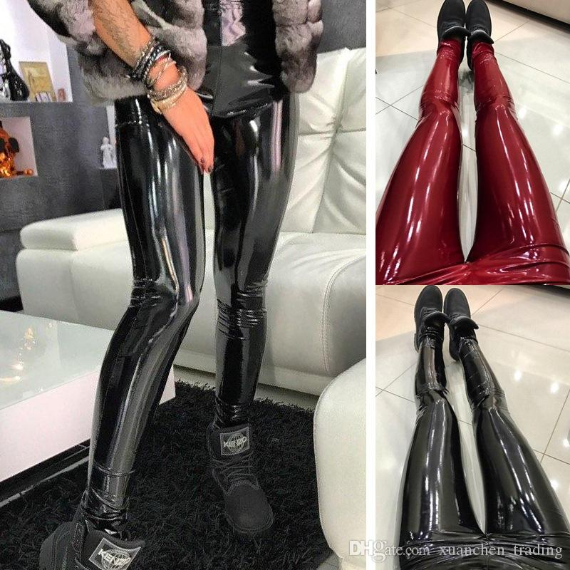 c6759797ddbec5 2019 Sexy Casual Women Ladies Fashion PU Leather Black Red Slim Shiny  Skinny Elastic Waist High Waist Leggings Pants Plus Size S XXXL From  Xuanchen_trading, ...