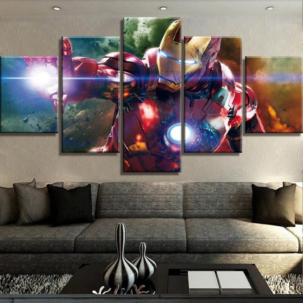 Großhandel Rahmen 5 Stück Hd Print Iron Man Marvel Malerei Leinwand