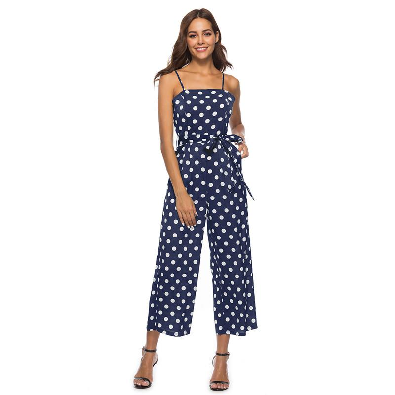 52aa338b0ff95 2019 Spaghetti Strap Polka Dot Rompers Womens Jumpsuit Casual High Waist  Wide Leg Summer Jumpsuit Plus Size One Piece Pants DC18627 From Beenni