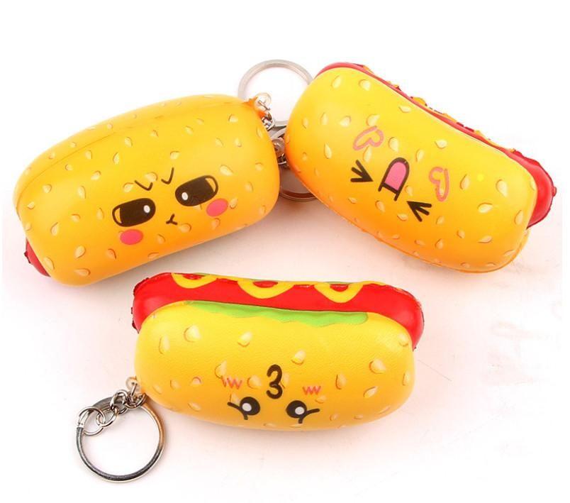 Hot Dog Squishy Key Chain Kawaii Emoji Face Mobile Phone Pendant Charm Back  Pack Hanging Toys