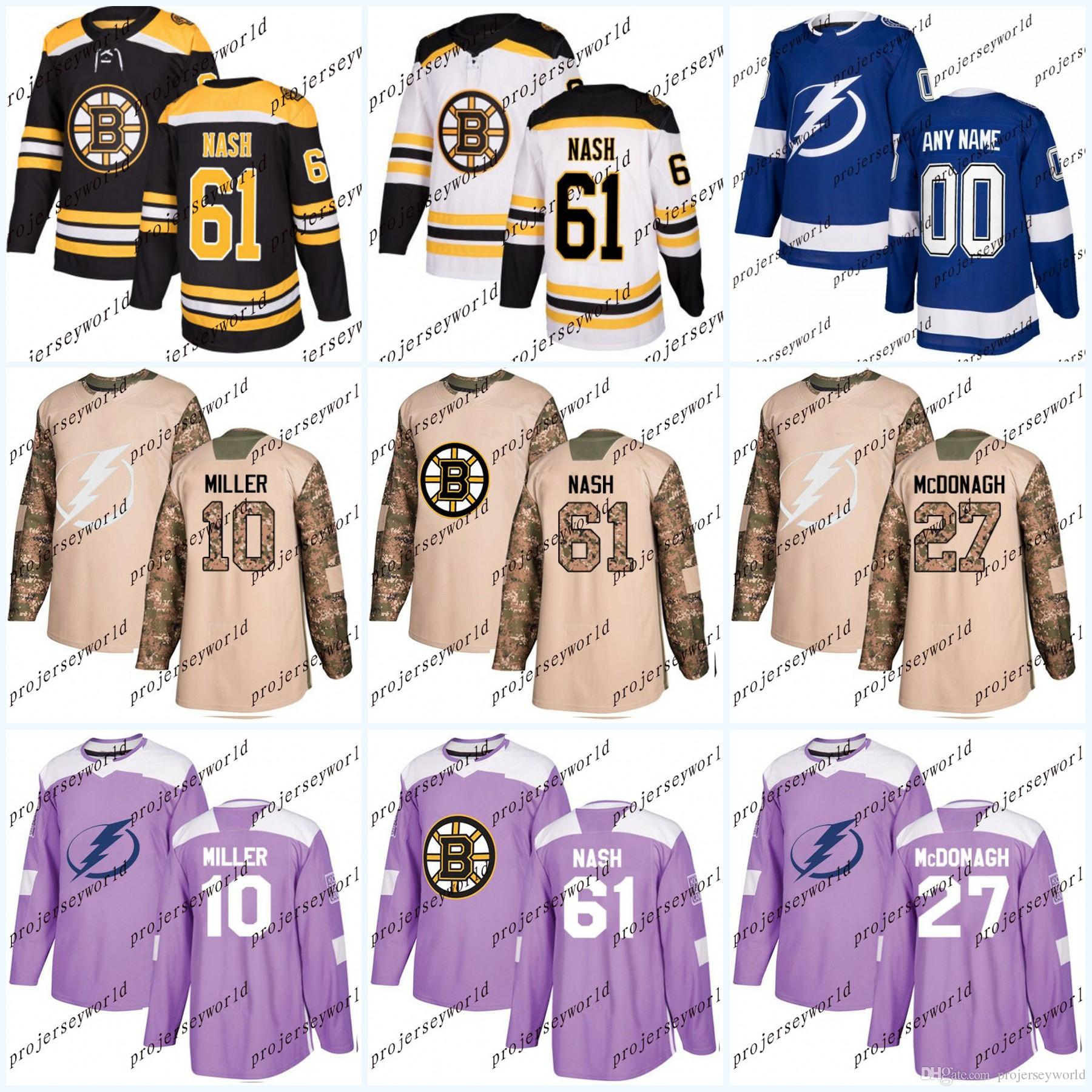 buy popular 219fe 89921 Stitched Boston Bruins #61 Rick Nash Tampa Bay Lightning #10 J.T. Miller  #27 Ryan McDonagh Fights Cancer Camo Veterans Day Hockey Jersey