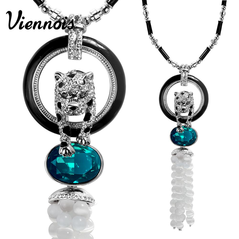 Viennois Jewelry Rose Gold/Silver Color Leopard Pendant Necklace for Woman Blue/Orange Crystal Full Rhinestone Long Necklaces