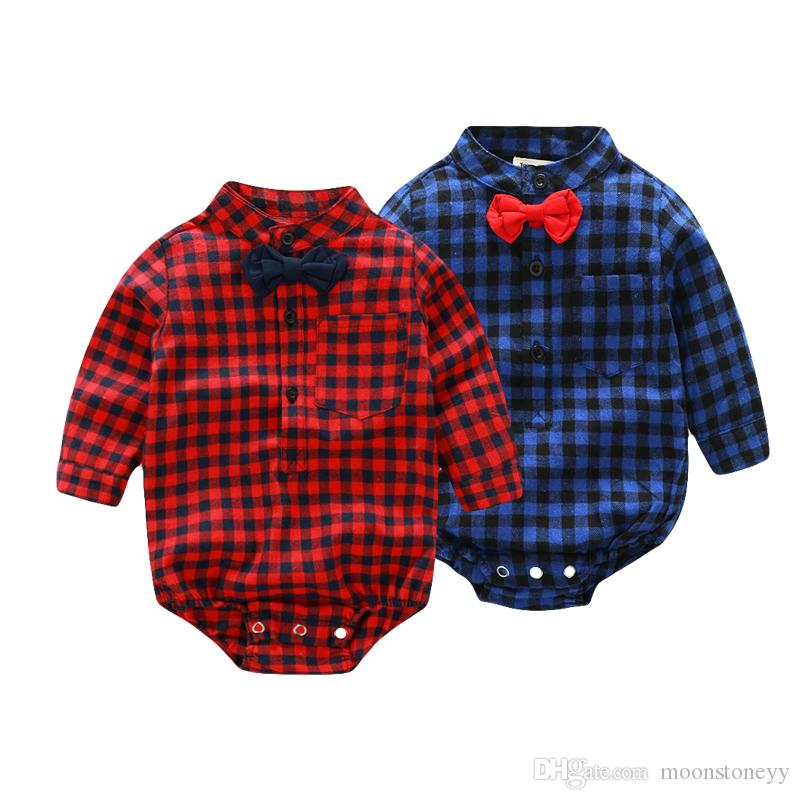 Baby Rompers Gentleman Long Sleeve Cotton Plaid Tops Clothes Autumn Kids Infant Christmas Clothing Set Overalls for children