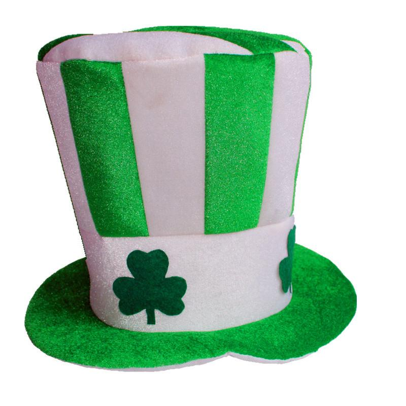 b35f569c6a9b0 26 33cm Green Striped Pleuche Clover Hat Saint Patrick s Day Lucky  Performance Top Hat Party Props Free Shipping