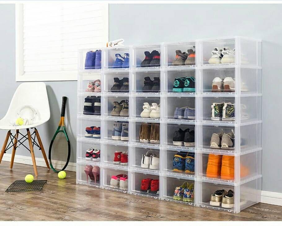 acheter bo te de rangement de chaussures transparente haut. Black Bedroom Furniture Sets. Home Design Ideas