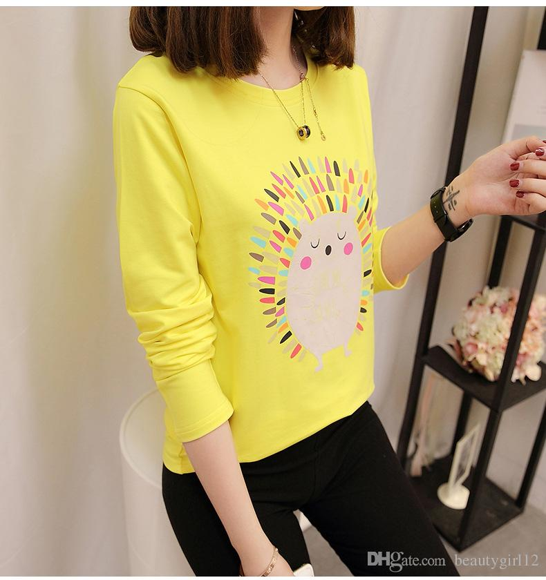2018 new south Korean version of the round collar, with a long sleeve T-shirt.