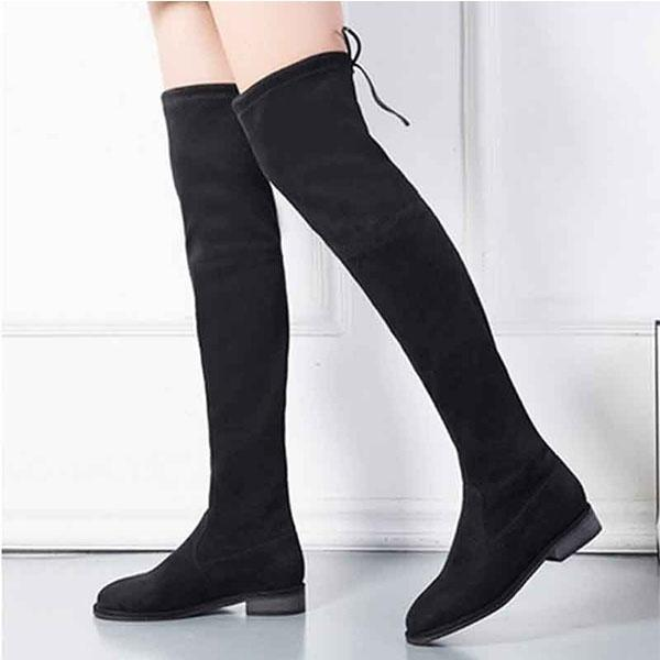 c05e4a9b788 Hot Sale Women Stretch Faux Suede Slim Thigh High Boots Sexy Fashion Over  The Knee Boots Woman Shoes Black Gray Winered Fringe Boots Boot Socks From  ...